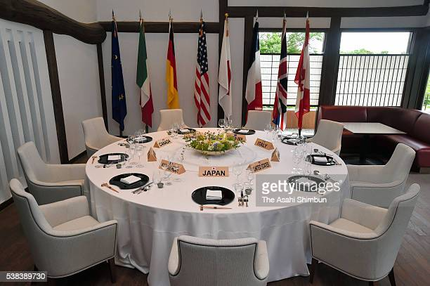 A table setting display used for the G7 world leaders at a working lunch at Shima Kanko Hotelfs main building during the press preview on June 5...
