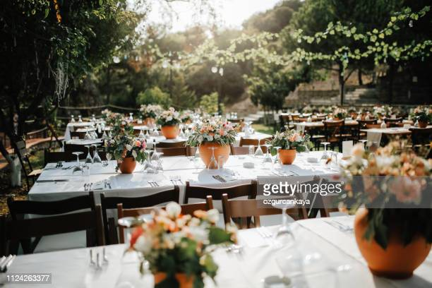 table setting for an event party or wedding reception - wedding reception stock pictures, royalty-free photos & images