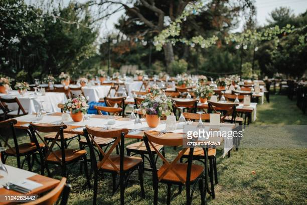 table setting for an event party or wedding reception - wedding decoration stock pictures, royalty-free photos & images