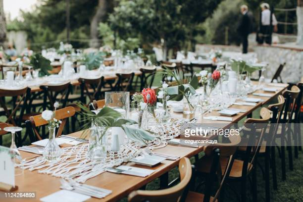 table setting for an event party or wedding reception - food and drink industry stock pictures, royalty-free photos & images