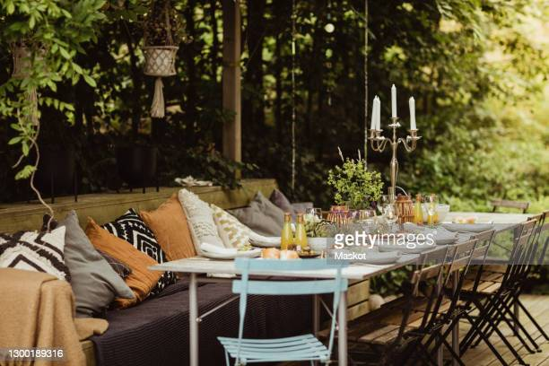 table setting for garden party - garden party stock pictures, royalty-free photos & images