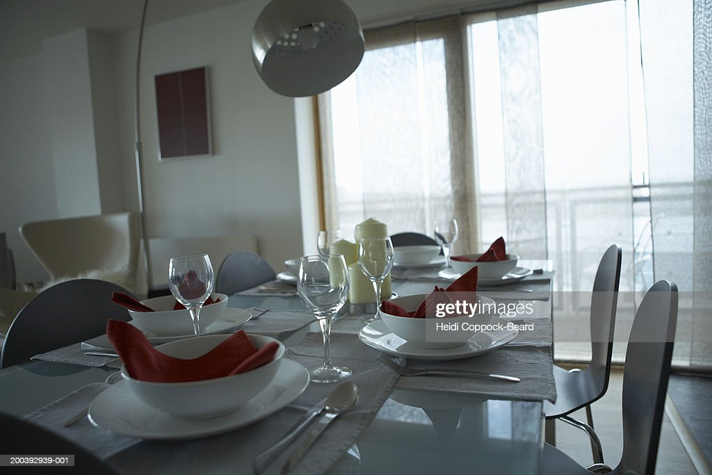 Table setting in apartment : Stock Photo