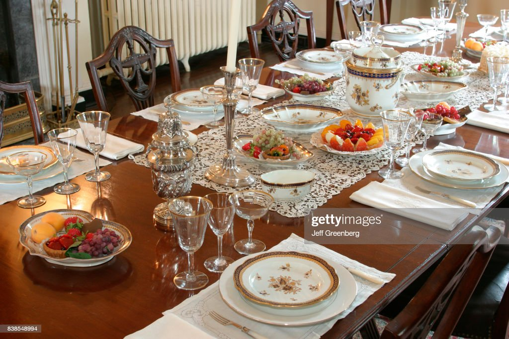 A table setting inside an English style country house in Oatlands. & A table setting inside an English style country house in Oatlands ...