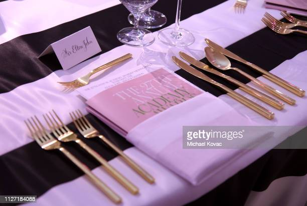 Table setting of the 27th annual Elton John AIDS Foundation Academy Awards Viewing Party sponsored by IMDb and Neuro Drinks celebrating EJAF and the...