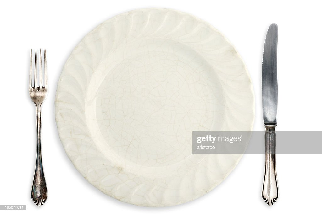 Table Setting; Old Empty Plate and Silverware  Stock Photo  sc 1 st  Getty Images & Table Setting Old Empty Plate And Silverware Stock Photo | Getty Images