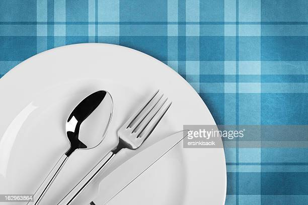 table setting on plaid tablecloth - silverware stock pictures, royalty-free photos & images