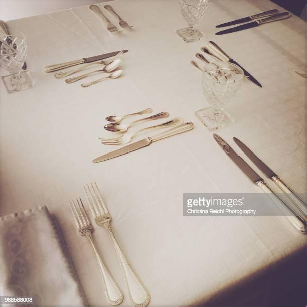 table setting - christina plate foto e immagini stock