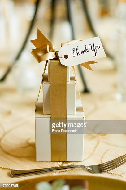 Table setting with gift, close-up