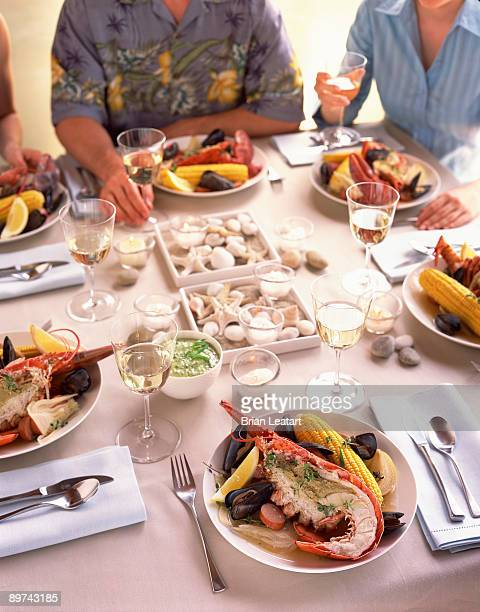 Table setting with lobster and shellfish