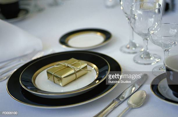 Table Setting with Wedding Gift
