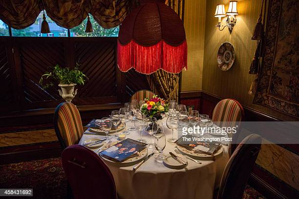 Table settings for a gala dinner at the The Inn at Little Washington for the 60th anniversary of Relais and Chateaux with the proprietress of Le...