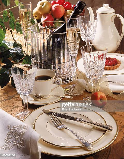 Table settings with crystal glasses