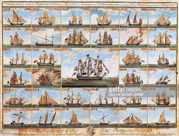Table showing every type of sailing ship in the Mediterranean illustrated table Italy 18th century Genoa Pegli Civico Museo Navale