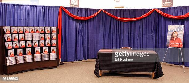 A table sits empty where former Alaska Governor and Republican Vice Presidental candidate Sarah Palin will be kicking off her book signing tour for...