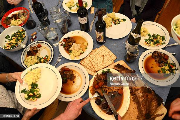 A table spread for a story on a Passover seder meal on Feb 26 2013 at a home in Jamaica Plain