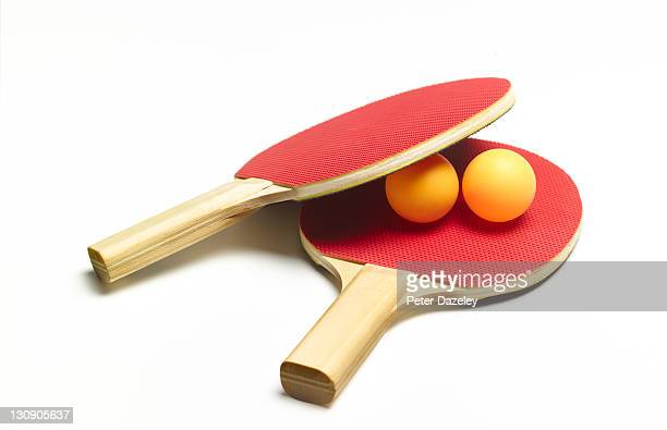 Table tennis bat and balls with copy space