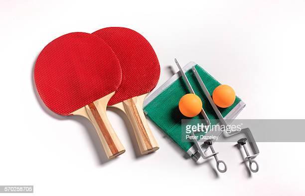 Table tennis bats balls and net