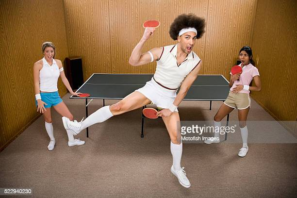 table tennis nerd acting silly - funny ping pong stock pictures, royalty-free photos & images