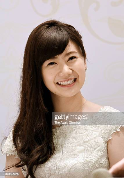 Table tennis player Ai Fukuhara attends a press conference annoucing her marriage with Chiang HungChieh on September 22 2016 in Taipei Taiwan