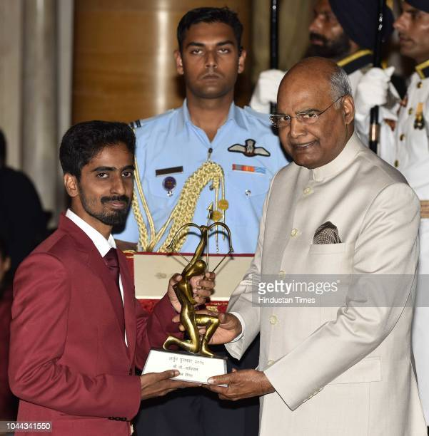 Table Tennis player G Sathiyan receives Arjuna Award 2018 for his achievements in Table Tennis from President Ram Nath Kovind at the National Sports...