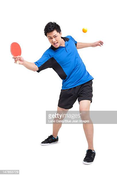 Table tennis player lunging