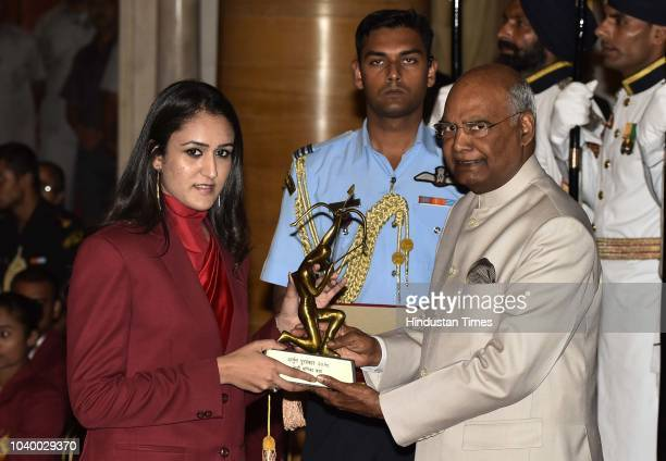 Table Tennis player Manika Batra receives Arjuna Award 2018 for her achievements in Table Tennis from President Ramnath Kovind during the National...