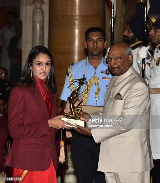 Table Tennis player Manika Batra receives Arjuna Award 2018 for her achievements in Table Tennis from President Ram Nath Kovind at the National...
