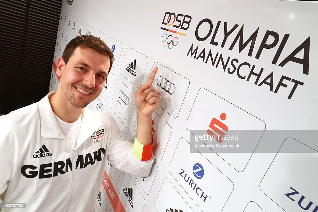 Table tennis player Timo Boll posw for a picture as he is announced as flag bearer for the German Olympic team during a press conference at the 'Deutsche Haus Rio 2016' ahead of the Rio 2016 Olympic Games on August 4, 2016 in Rio de Janeiro, Brazil.