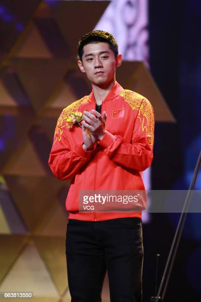 Table tennis player Zhang Jike attends 'You Bring Charm to the World' Award Ceremony 20162017 on March 31 2017 in Beijing China