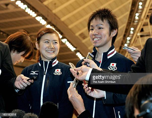 Table tennis players Ai Fukuhara and Koki Niwa speak to the reporters after the International Olympic Committee Evaluation Commission members...