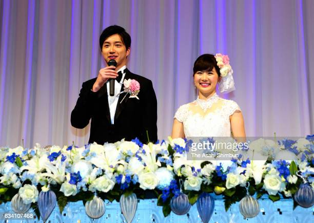 Table Tennis Players Chiang Hung-Chieh And Ai Fukuhara are seeb during their wedding party at Disney Ambassador Hotel on February 5, 2017 in Urayasu,...
