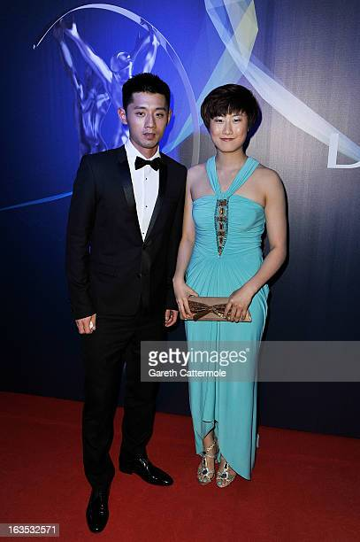 Table Tennis players Zhang Jike and Ding Ning attends the 2013 Laureus World Sports Awards at the Theatro Municipal Do Rio de Janeiro on March 11,...