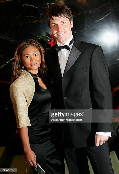 Table Tennis Star Timo Boll arrives with his wife Rondelia Boll at the 'Best Sportsman of the Year 2005' event at the Kurhaus Casino on December 18,...