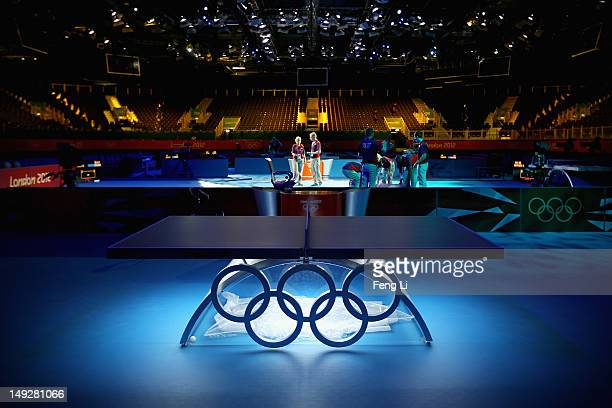 A table tennis table is seen as Olympic preperations continue at ExCeL on July 26 2012 in London England