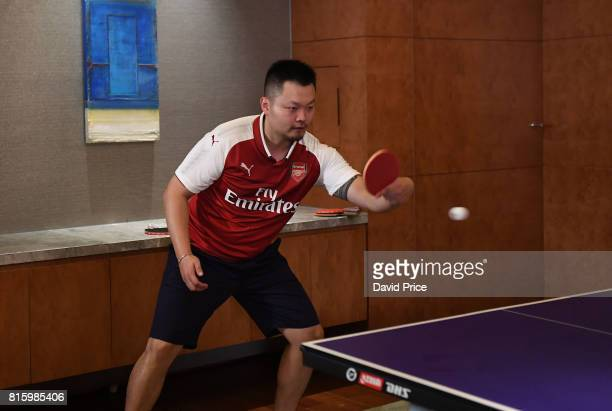 Table Tennis teacher Li Cheng Peng during a Table Tennis exhibition in the Manderin Oriental on July 17 2017 in Shanghai China