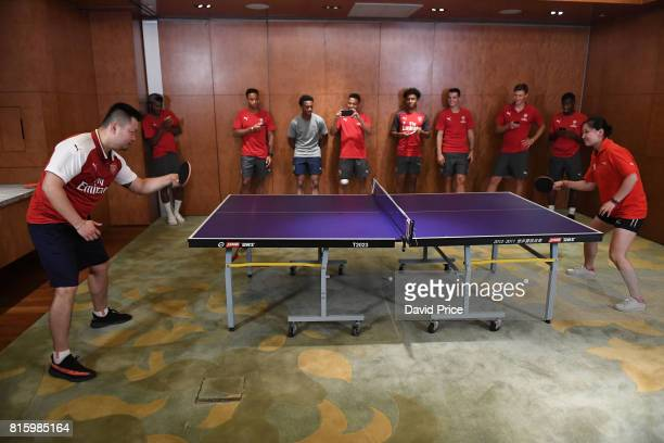 Table Tennis teachers Li Cheng Peng and Qi Rong during a Table Tennis exhibition in the Manderin Oriental on July 17 2017 in Shanghai China