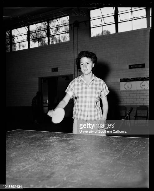 Table tennis tournament, July 14 1955. George Rios -- 16 years;Ray Forman -- 14 years;Boby Chandler -- 3 years;Margaret De La Cruz -- 15 years;Ralph...