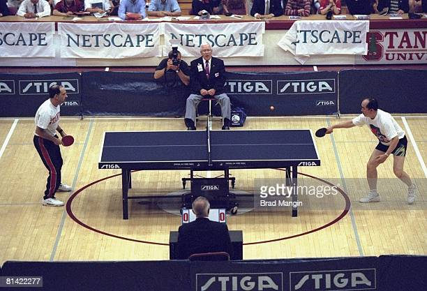 "Table Tennis: USA Robert Shur in action vs China Liu Guoliang during ""Friendship First"" rematch, Ping Pong Diplomacy, Stanford, CA 7/27/1997"
