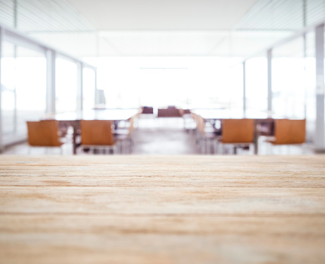 Table top Blurred Office space Meeting Seminar room with seats 509544572