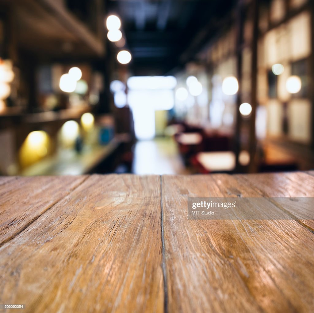 Table Top Counter Bar Blurred Cafe Restaurant Background High Res Stock Photo Getty Images