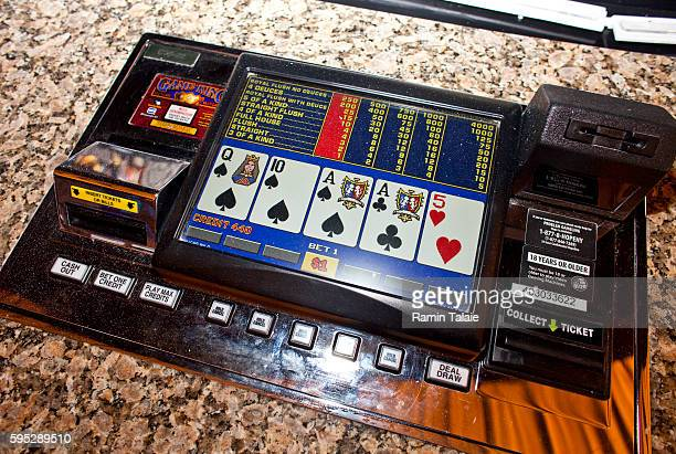 A table top poker machine at a bar in Genting's new Resorts World New York casino at Aqueduct Race Track in Jamaica section of Queens in New York on...