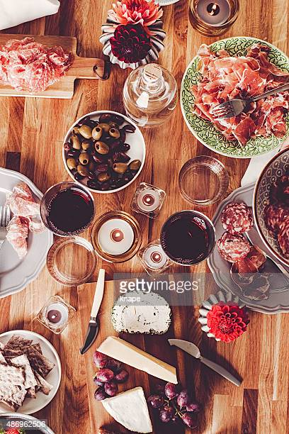 table top view of dinner - tapas stock photos and pictures