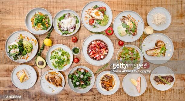 table top view of restaurant food. - table top shot stockfoto's en -beelden