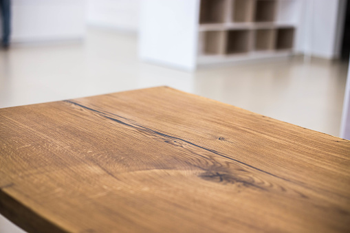 Table tops of solid oak and ash. Making furniture. 1081164414