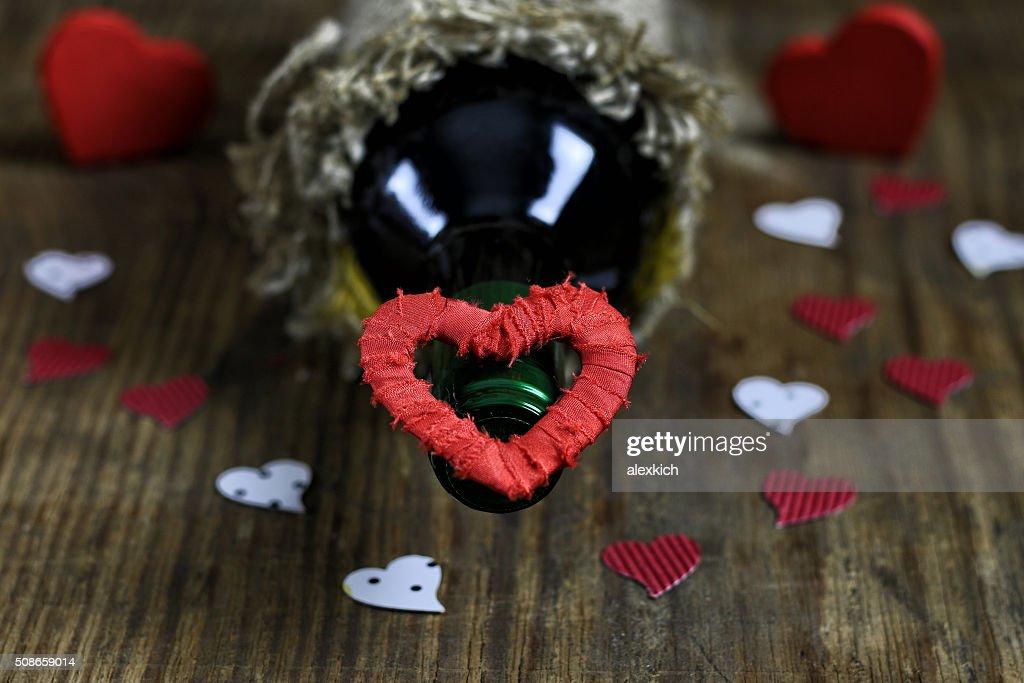 table wine love heart shape : Stock Photo