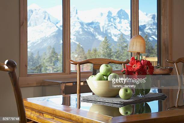 Table with bowl of apples