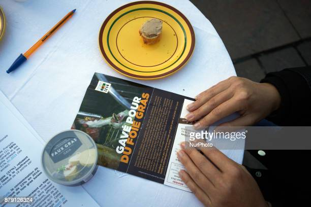 A table with false 'foie gras' The L214 association did a 'speeddating' about foie gras to have people try false 'foie gras' on the main square of...