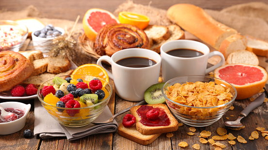 table with full healthy breakfast 1045372816