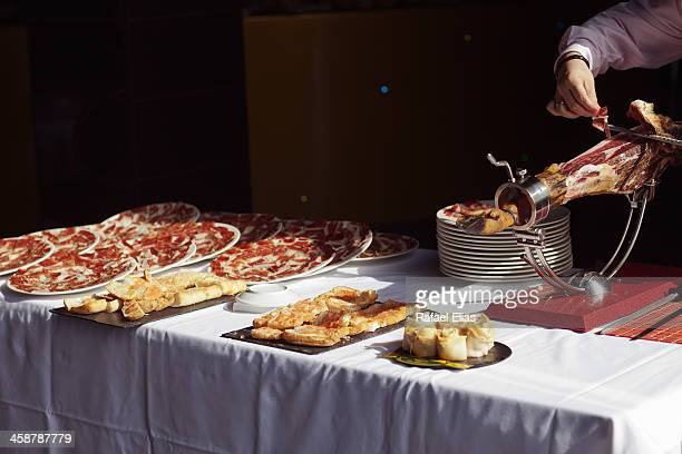 Table with Iberian ham