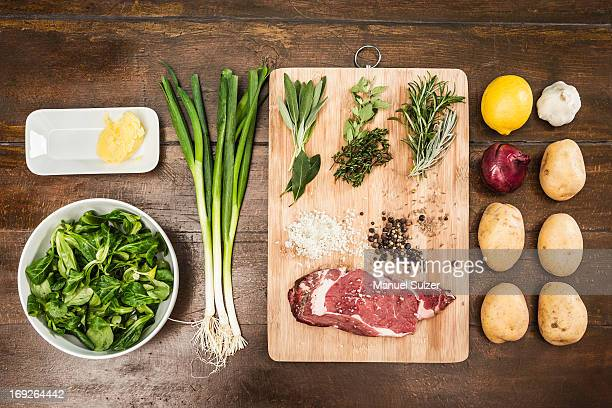 Table with ingredients and seasonings